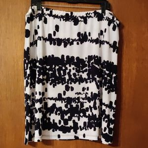 Black and white jersey skirt